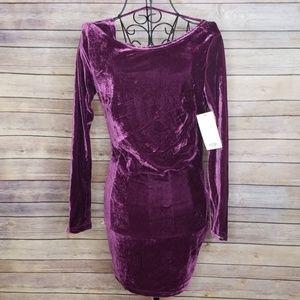 NWT TOBI purple velvet XS long sleeve dress